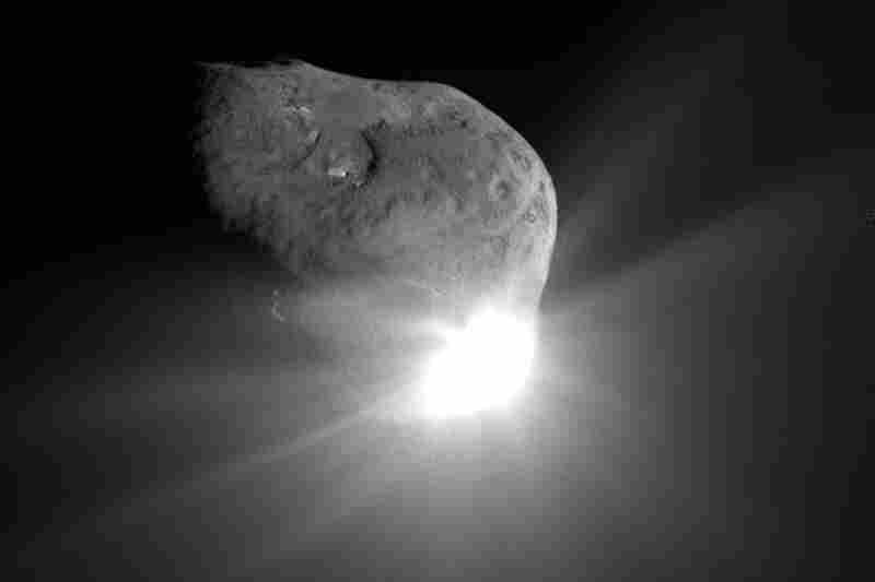 In 2005, NASA sent a spacecraft slamming into the surface of comet Tempel 1. This image was taken 67 seconds after the collision by the high-resolution camera on the mission's flyby craft.