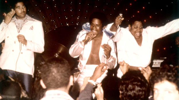 Rap pioneers the Sugarhill Gang (left to right: Wonder Mike, Master G and Big Bank Hank) perform live circa 1979. (Getty Images)