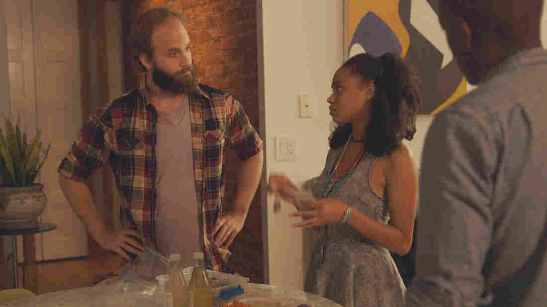 """""""The guy"""" (Ben Sinclair, left) delivers pot to two clients played by Tanisha Long and William Jackson Harper."""