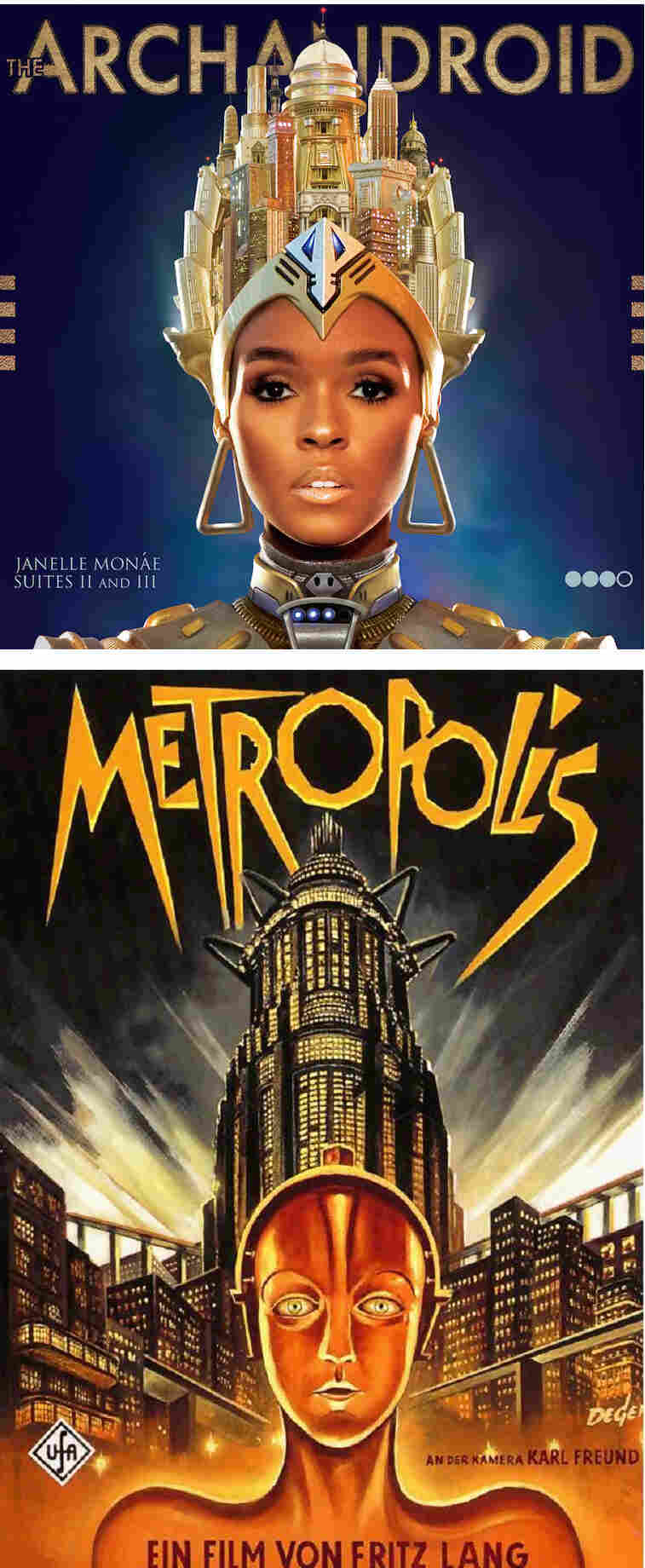 Janelle Monaé's Archandroid drew much of its inspiration and aesthetic style from Fritz Lang's Metropolis.