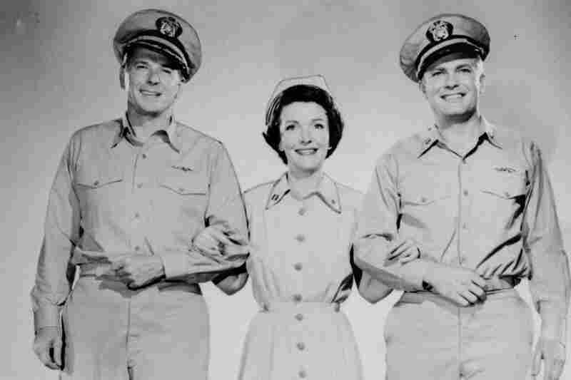 Ronald Reagan (from left), Nancy Davis Reagan and Arthur Franz co-star in the 1957 movie Hellcats of the Navy. It was the only film Nancy and Ronald Reagan appeared in together.