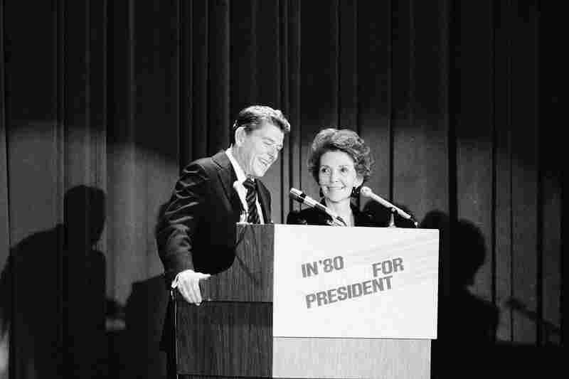 The former California governor and his wife address a crowd at a GOP fundraising dinner in New York City on Nov. 13, 1979. Ronald Reagan had announced that he was running for president, his third bid for the GOP nomination. He entered the crowded race as a front-runner.