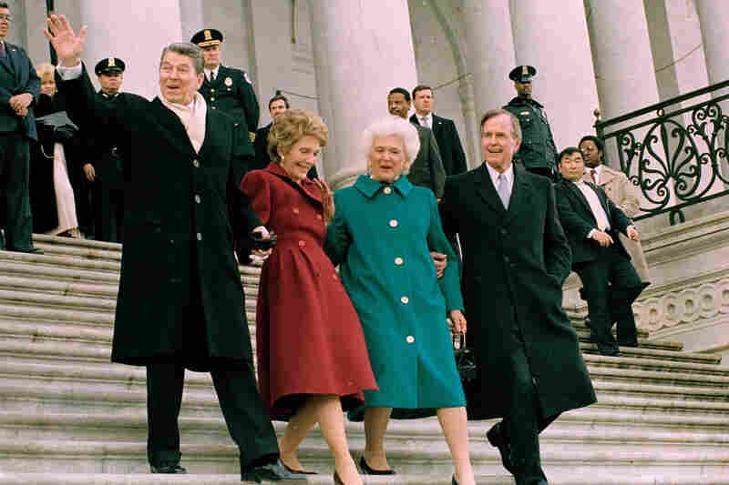 Former President and Mrs. Reagan walk with first lady Barbara Bush and President George H.W. Bush after the inaugural ceremony in Washington, D.C., on Jan. 20, 1989.