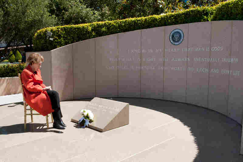 Nancy Reagan observes the eighth anniversary of her husband's death, at the Ronald Reagan Presidential Library in Simi Valley, Calif., on June 5, 2012.