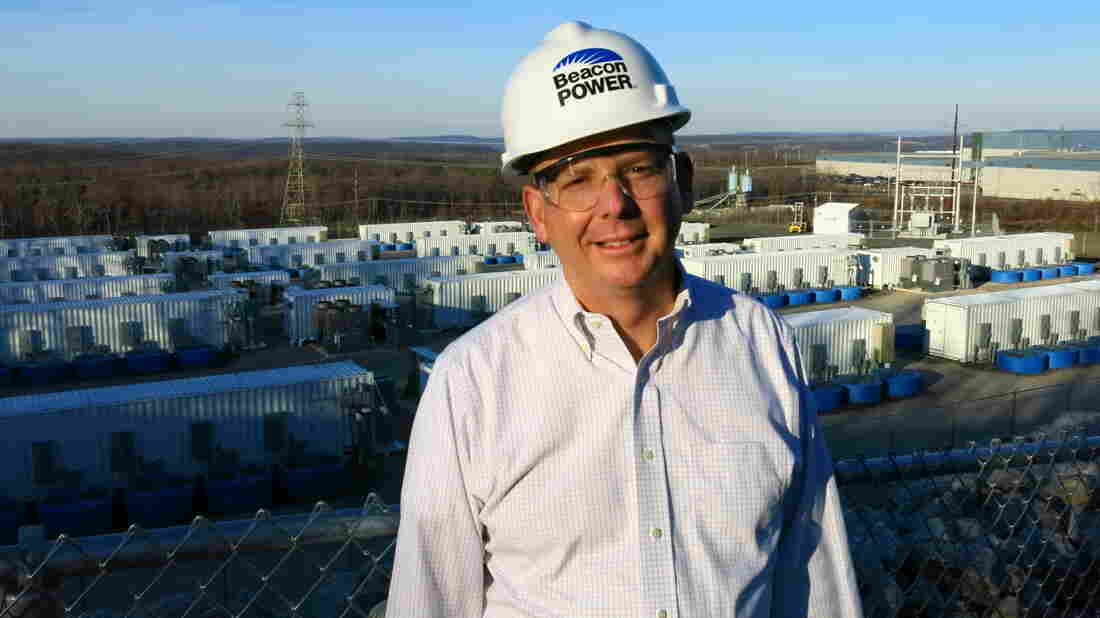 Beacon Power President and CEO Barry Brits, at the company's plant in Hazle Township, Pa. He says a loan from the Department of Energy made it possible for his company to develop its flywheel energy storage technology.