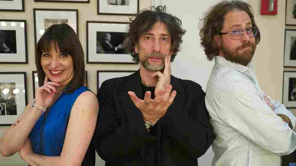 When their powers combine, Ask Me Another host Ophira Eisenberg, author Neil Gaiman and one man house band Jonathan Coulton make a force to be reckoned with.