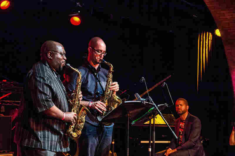 Saxophonists Darius Jones (left) and Steve Lehman perform music from the repertoire of the band Air, as Jason Moran watches on.