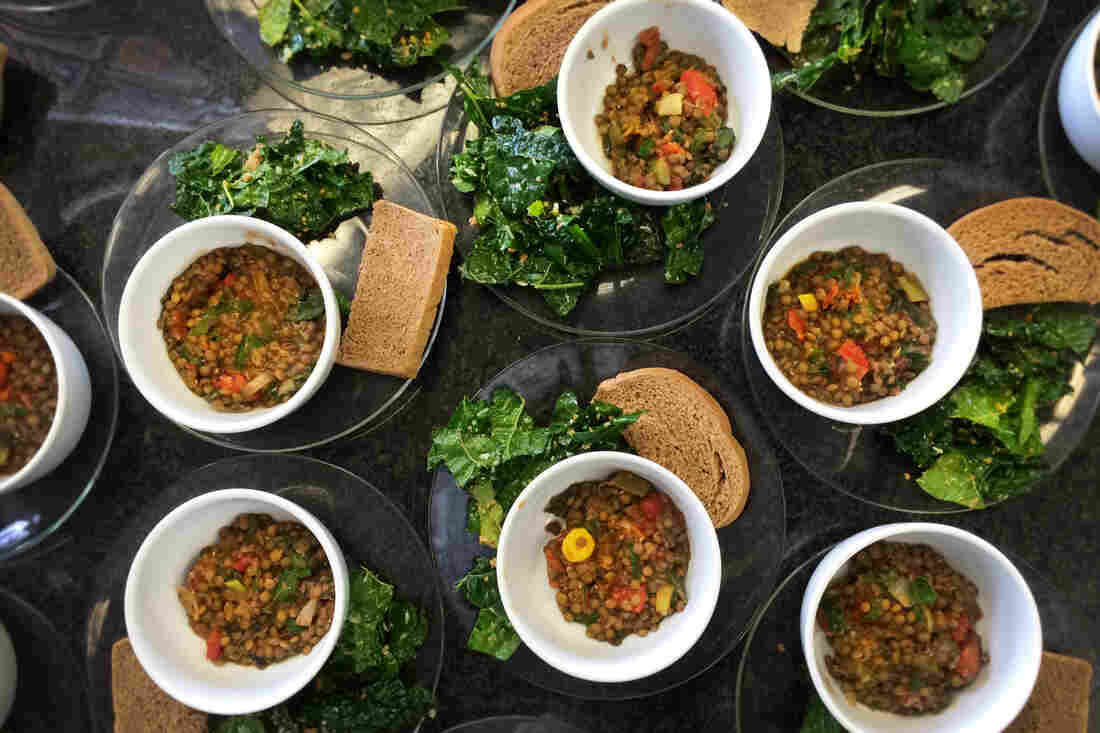 Soup's on! Tuscan kale salad, lentil soup with spinach, and toast with garlic herb butter.