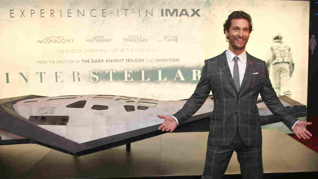 Actor Matthew McConaughey poses with a model spacecraft at the premiere of the film Interstellar in October.