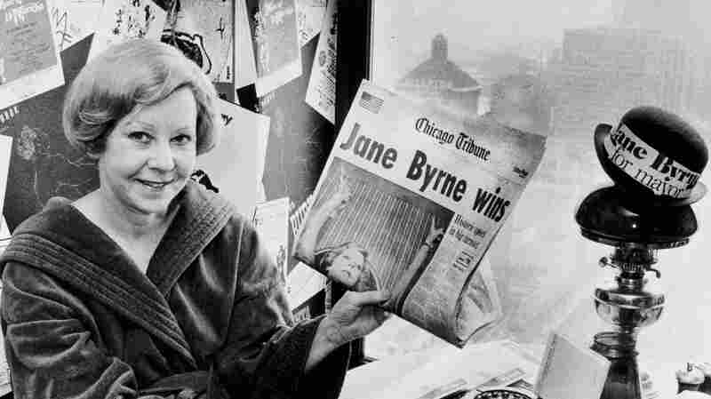 Jane Byrne savors her victory in the previous night's Democratic primary in 1979, when she defeated incumbent Chicago Mayor Michael Bilandic. She became the city's first female mayor.