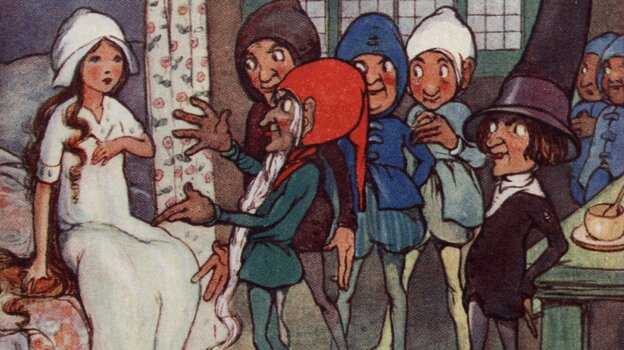 A postcard from the 1800s shows the seven dwarves finding Snow White asleep in their bedroom.