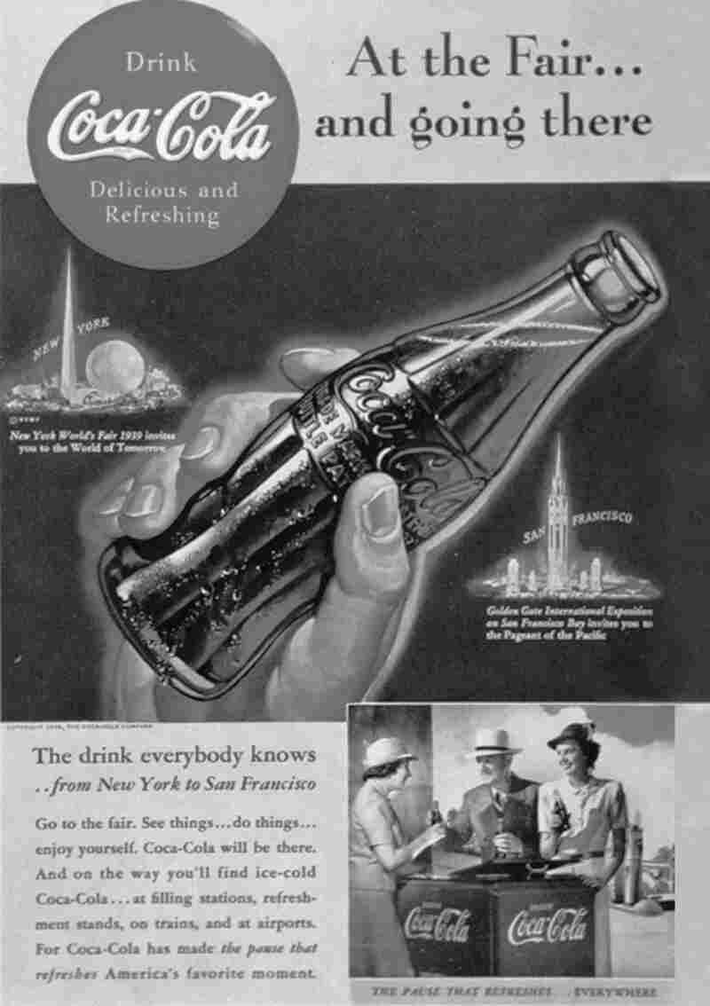 """While the recipe for Coca-Cola has changed, the loopy font is still the same as it was in this ad from 1939. Says O'Connell: """"The original Coca-Cola script that you see ... a friend of [the pharmacist who invented it] designed that script and the Coca-Cola company still uses it."""""""
