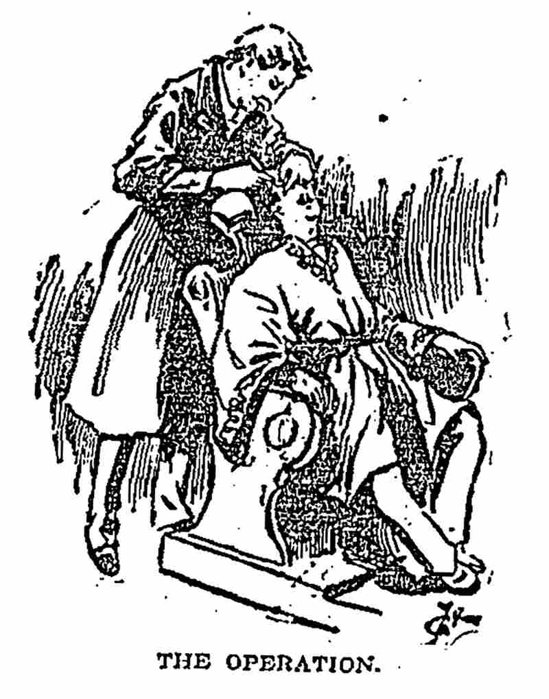 This illustration appeared in a February 1895 Los Angeles Times story about eyelid surgery in Japan.