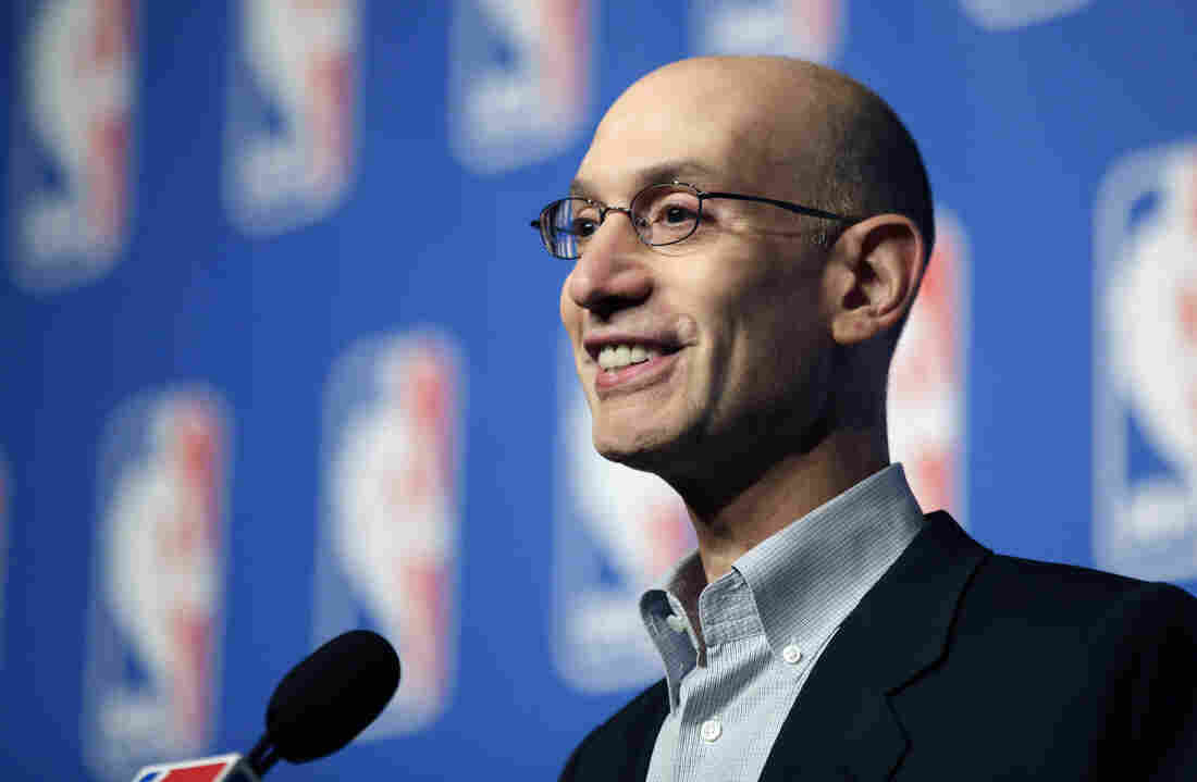 NBA Commissioner Adam Silver speaks at a news conference during the NBA Board of Governors meeting in July.