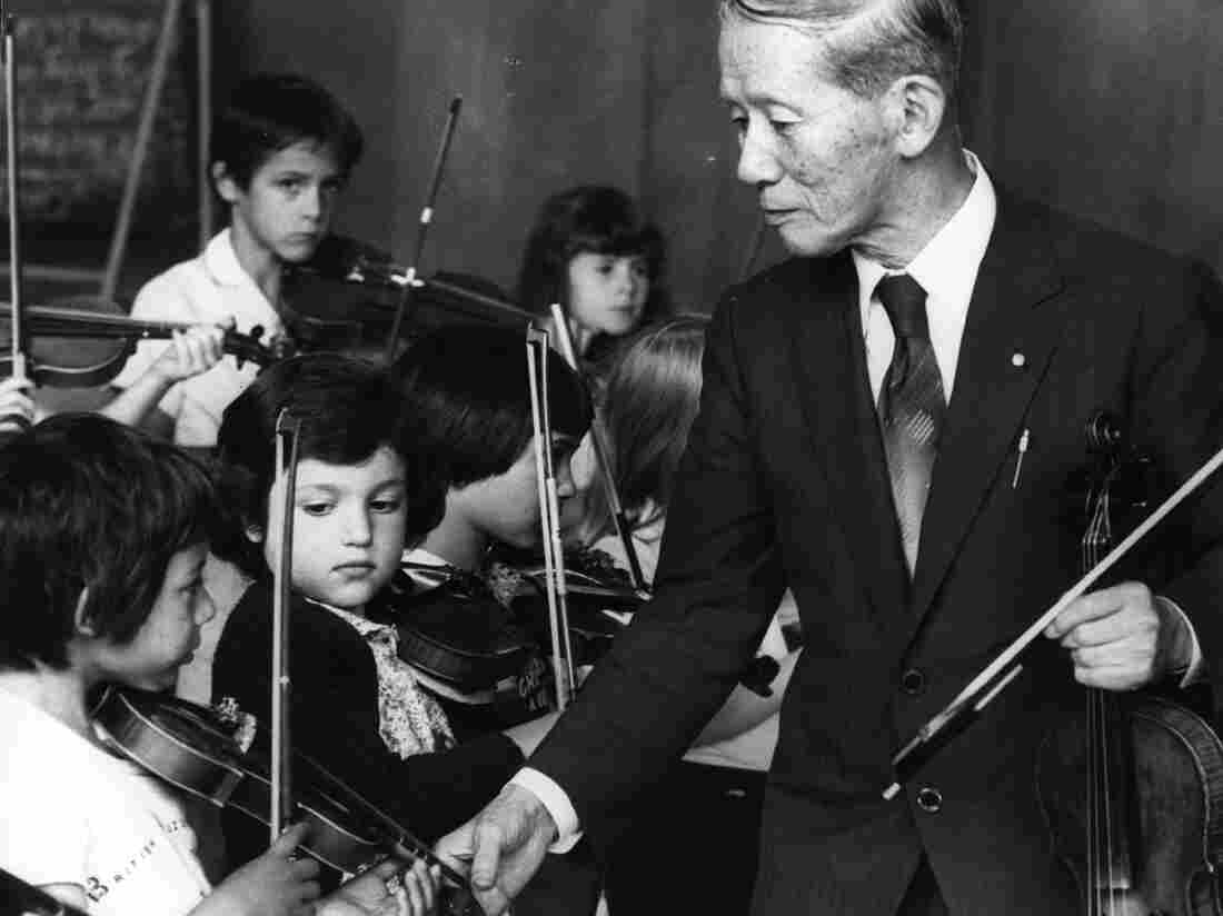 Shinichi Suzuki makes a rare visit to Britain in 1980 to demonstrate the method he developed for learning to play the violin.