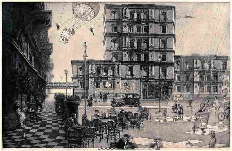 Milton's The Ministry (Second State) was inspired by the story of Marcel Proust and James Joyce sharing a Paris taxi in 1922. Click here for a closer look.