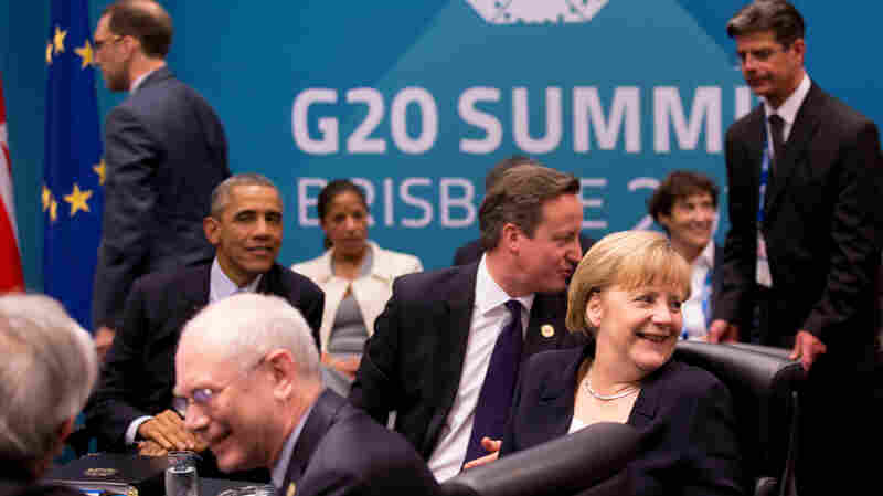 German Chancellor Angela Merkel, President Obama, British Prime Minister David Cameron and other leaders at the G20 summit in Brisbane, Australia.