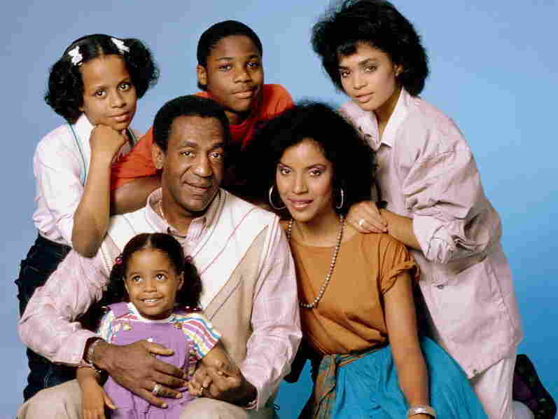 Bill Cosby with the cast of his hit sitcom The Cosby Show: Tempestt Bledsoe (clockwise from top left), Malcolm-Jamal Warner, Lisa Bonet, Phylicia Rashad and Keshia Knight Pulliam.