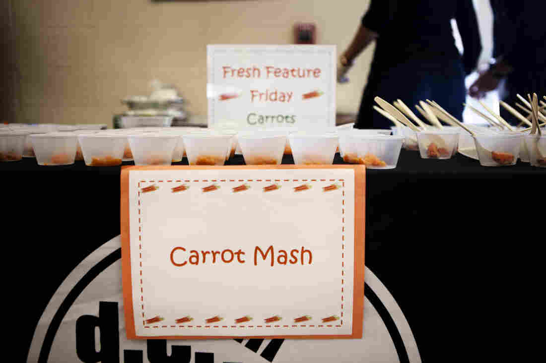 Samples of carrots cooked three ways are placed on a table for the kids at Walker-Jones Educational Campus, in Washington, D.C., to sample after they have finished lunch. The crowd favorite will later end up on the school lunch menu.