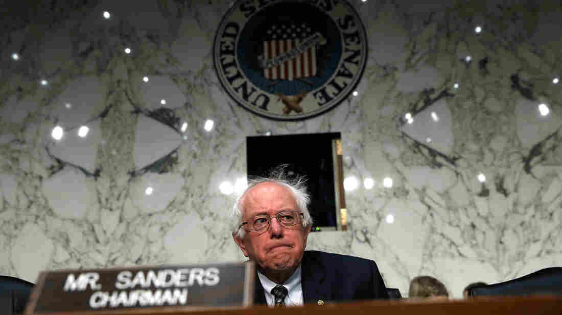 """Sen. Bernie Sanders, an independent, says """"the average person is working longer hours, lower wages, and they do not see any political party standing up and fighting for their rights."""""""