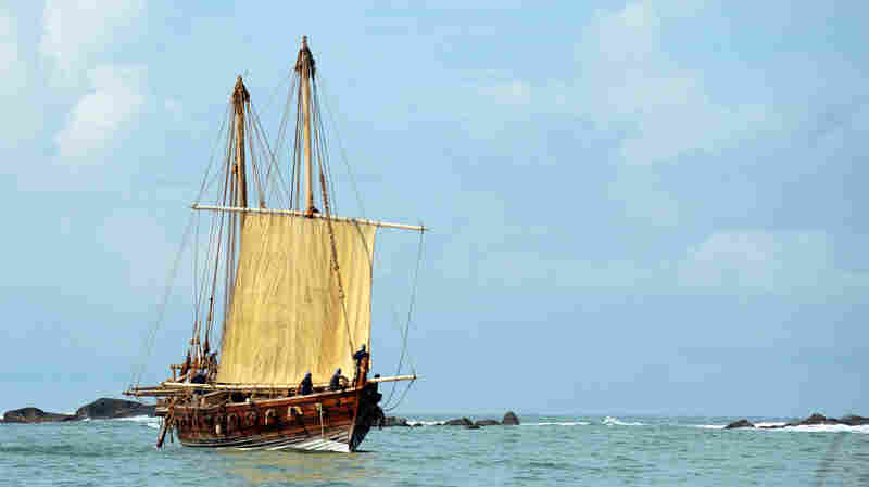 The Jewel of Muscat, a replica of a ninth century Omani trading ship, sails into the harbor of Galle, Sri Lanka, in 2010. The ship was built in a traditional manner that uses coconut fibers (but no nails) to hold the ship together. The ship followed old routes used by Arab traders.