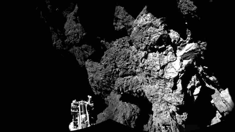 This combination photo produced with different images shows Philae after landing on the surface of Comet 67P/Churyumov-Gerasimenko.