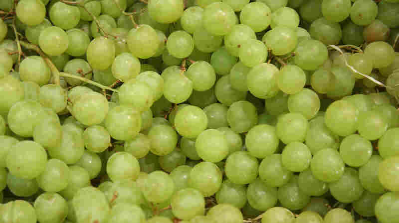 Organic grapes are on display at trade fair on Sept. 5, in Berlin, Germany.
