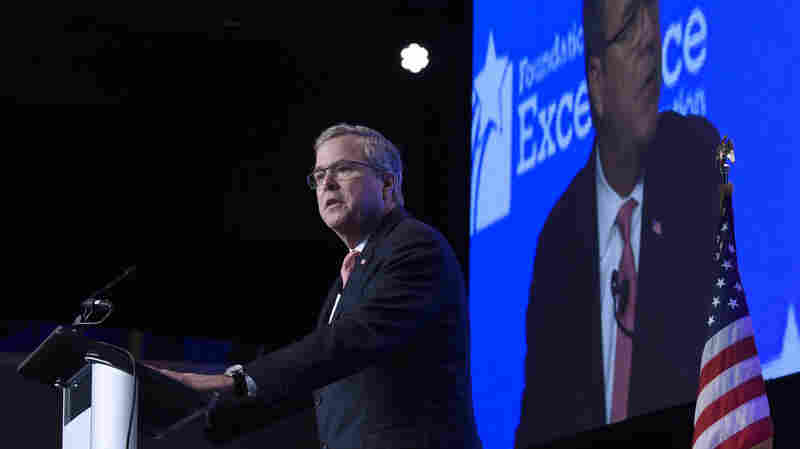 Former Florida Gov. Jeb Bush addresses an education conference Thursday sponsored by the Foundation for Excellence in Education, a nonprofit he created as he left office.