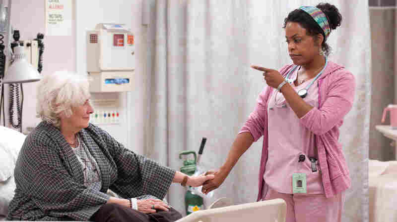 Niecy Nash (right) plays DiDi, a nurse at an extended care facility, in the HBO comedy series Getting On, which was modeled after the hit BBC series of the same name. Betty Buckley plays one of her patients.