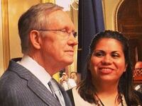 Sen. Harry Reid and DREAMer Astrid Silva, who was mentioned in the president's speech on immigration.