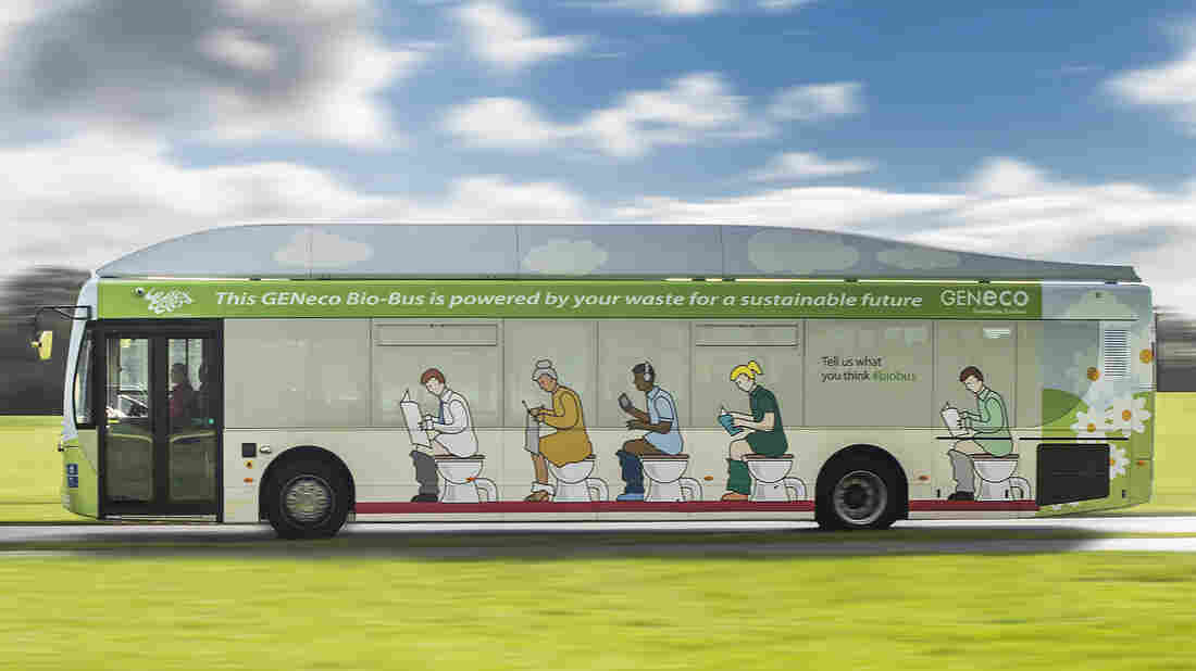 In Britain, a new bus running between Bath and the Bristol airport uses biomethane for power. The gas is derived from human sewage and food waste.