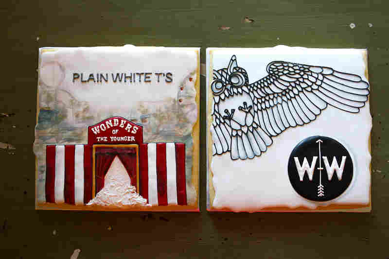 Snickety Snacks re-created the album covers of The Plain White T's and The Wind + Wave for these cookies. Each one took approximately 15 hours to bake, ice, dry and paint.