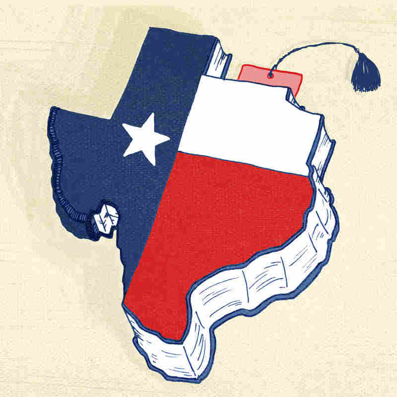 A textbook shaped like the state of Texas