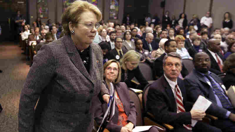 """Saying she is acting out of """"""""great sorrow, great rage,"""" University of Virginia President Teresa Sullivan, seen here in April, is suspending all the school's fraternities until January."""