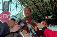 Washington Mayor Marion Barry addresses the media before boarding a plane for a flight to St. Louis from Baltimore-Washington Airport in Linthicum, Md., Wednesday, May 1, 1996. (AP Photo/Roberto Borea)