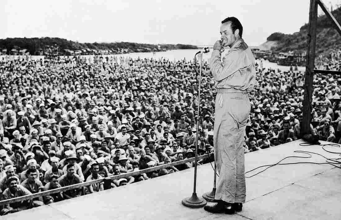 Bob Hope performs for servicemen at Munda Airstrip, New Georgia, Solomon Islands, in 1944.
