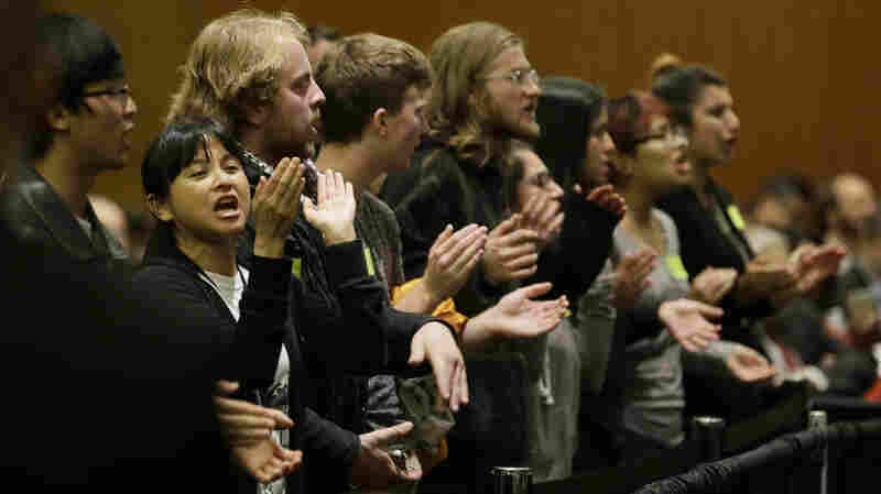 Students shout their disapproval after the University of California Board of Regents voted Nov. 20 to raise tuition. UC students across the state protested Monday by walking out of class.