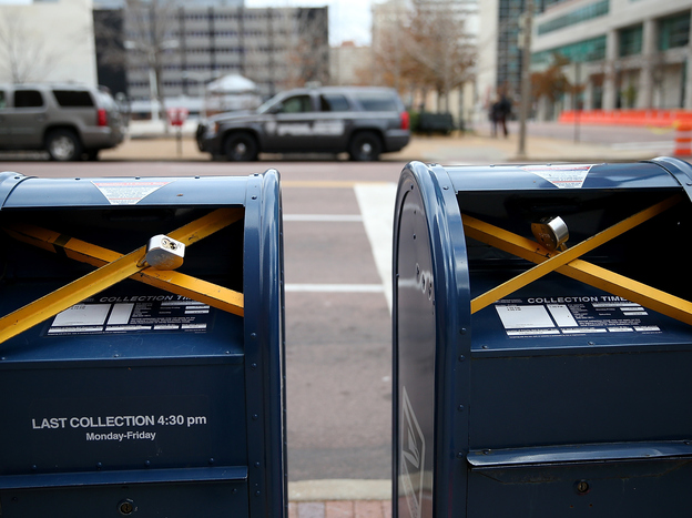 Locks were put on mailboxes across from the Buzz Westfall Justice Center in Clayton, Mo., Monday, in anticipation of the grand jury's decision.