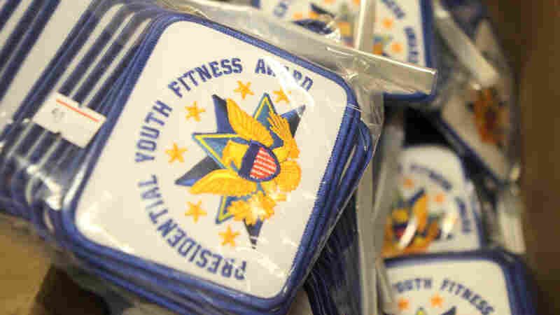 Patches for the new Presidential Youth Fitness Program in Lauren Horton's office at Capital City Public Charter School in Washington, D.C.