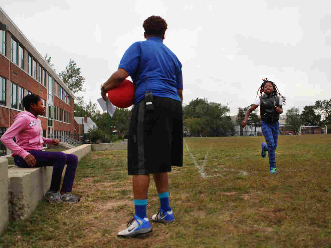 Students do a practice run in Lauren Horton's physical education class at Capital City Public Charter School in Washington, D.C.