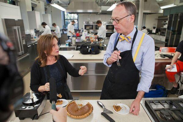 Chef Chris Kimball and NPR's Renee Montagne taste a Thanksgiving pumpkin pie.