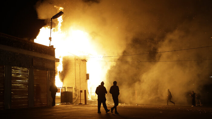 A storage facility in Ferguson, Mo., is on fire following the decision Monday by a grand jury not to charge officer Darren Wilson in the shooting death of 18-year-old Michael Brown. Demonstrators clashed with police and set buildings on fire. St. Louis County Police Chief John Belmar said the unrest was worse that which erupted after Brown was killed in August.