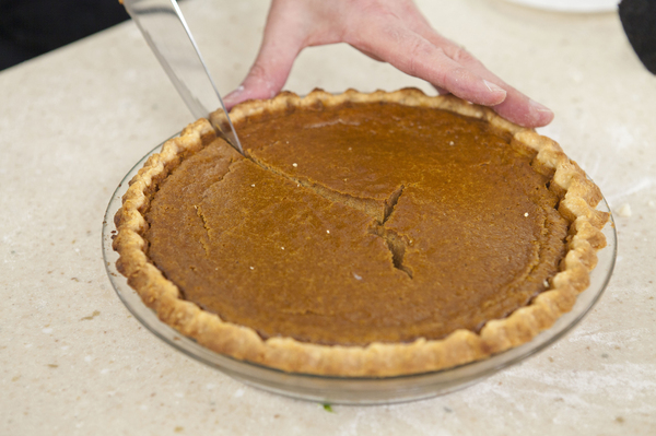 Pumpkin pie filling is naturally gluten-free, so we weren't worried about changing it. But baking a gluten-free pie crust meant tinkering with the Test Kitchen's favorite recipe.