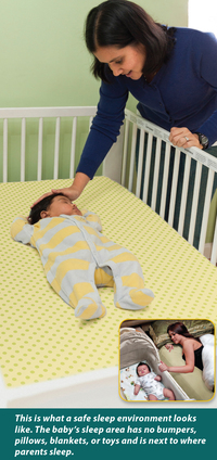 The NIH recommends avoiding bedding for infants.