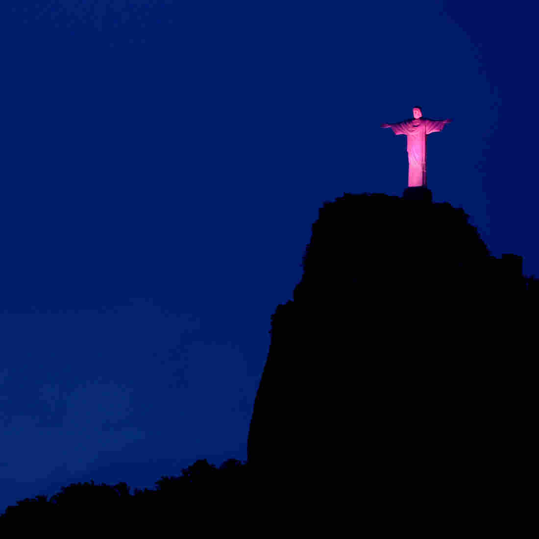 Brazil's Christ the Redeemer statue is lit up in pink as part of a campaign for breast cancer awareness. The country's survival rate for the disease is improving.