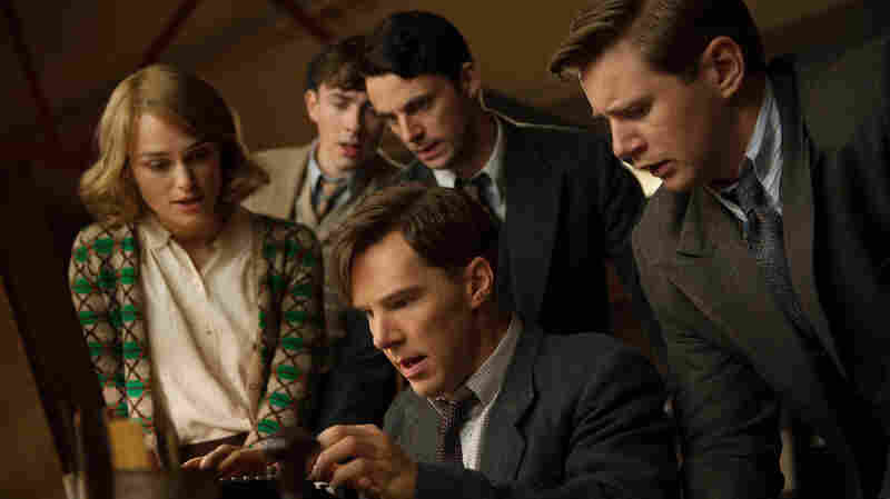 Keira Knightley, Matthew Beard, Matthew Goode, Benedict Cumberbatch, and Allen Leech in The Imitation Game.