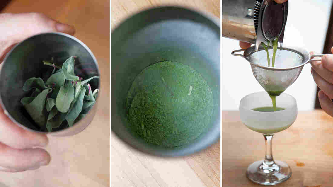 How to muddle your herbs with liquid nitrogen: Left: Freeze your herbs. Center: After muddling, it should look like this. Right: Add liquor, let thaw, then add syrups and shake with ice. Strain drink through a tea strainer into a chilled coupe glass.