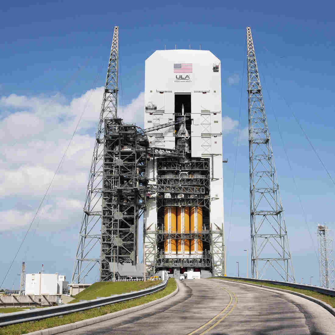 The Orion capsule is poised to make its first test flight Thursday. If all goes as planned, the unmanned vehicle will orbit Earth twice before splashing into the Pacific Ocean.