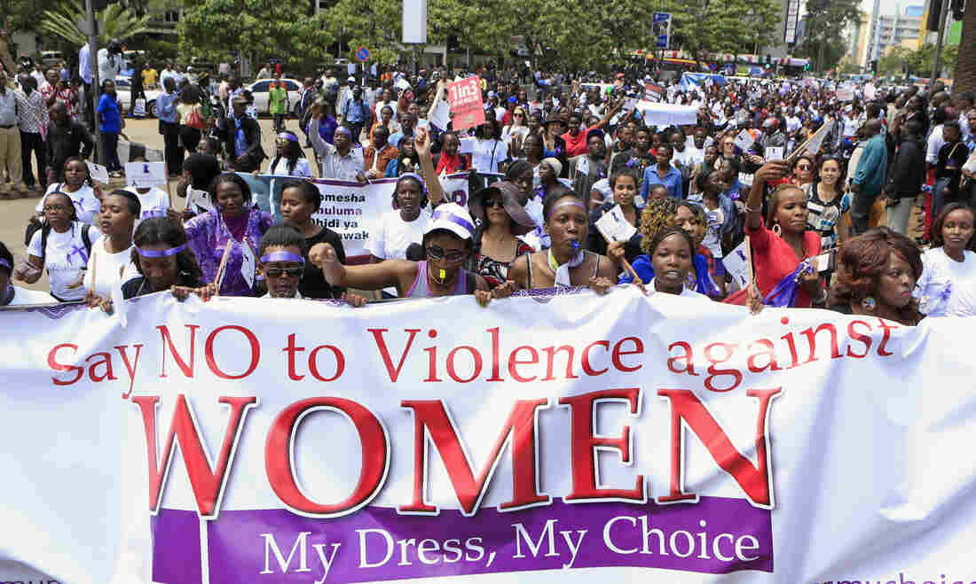 Women participate in the Nov. 17 protest in Nairobi. The viral videos showing the attacks have prompted soul searching in the predominantly Christian country.