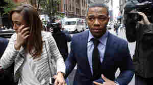 Ray Rice arrives with his wife Janay Palmer for an appeal hearing of his indefinite suspension from the NFL, on Nov. 5. in New York.